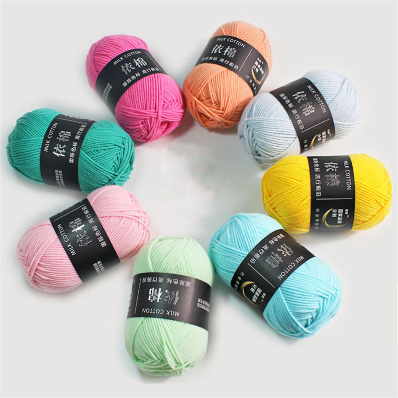 Image 2 - 62 Colors Cotton Baby Milk Yarn Worsted Cotton Crochet Thread Hand Knitting Wool Line Dyed Thread Cheap-in Yarn from Home & Garden