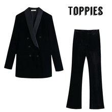 Черный бархатный костюм, женский двубортный блейзер с высокой талией, Облегающие расклешенные брюки,, зимний женский офисный комплект из двух предметов