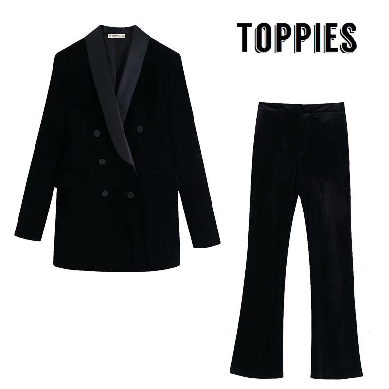 Black Velvet Suit Set Women Double Breasted Blazer High Waist Slim Flare Pants 2019 Winter Ladies Office Two Piece Set