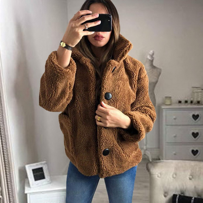HEFLASHOR Women's Plush coat autumn winter Women Button Jacket Casual Warm turndown collar fur Outwear Mid-Length Woolen jackets 16