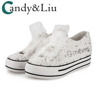 White Canvas Shoes Pearls Glued Beautiful Designs Sport Women Shoes 4cm Heel Height Casual Shoes Wedding Bride Vulcanized shoes