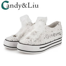 White Canvas Shoes Pearls Glued Beautiful Designs Sport Wome