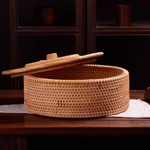 Image 3 - Hand woven Basket Primary Colours Simple retro Rattan Storage Boxes with lids Jewelry Tea set Storage Boxes Household items