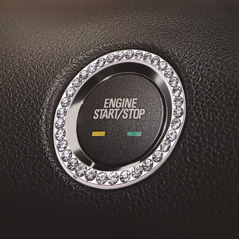 Acessórios do carro Interruptor de Arranque Anel De Diamante De Prata Strass Decoração Do Carro One-button Início Decorativo Adesivos de Carro