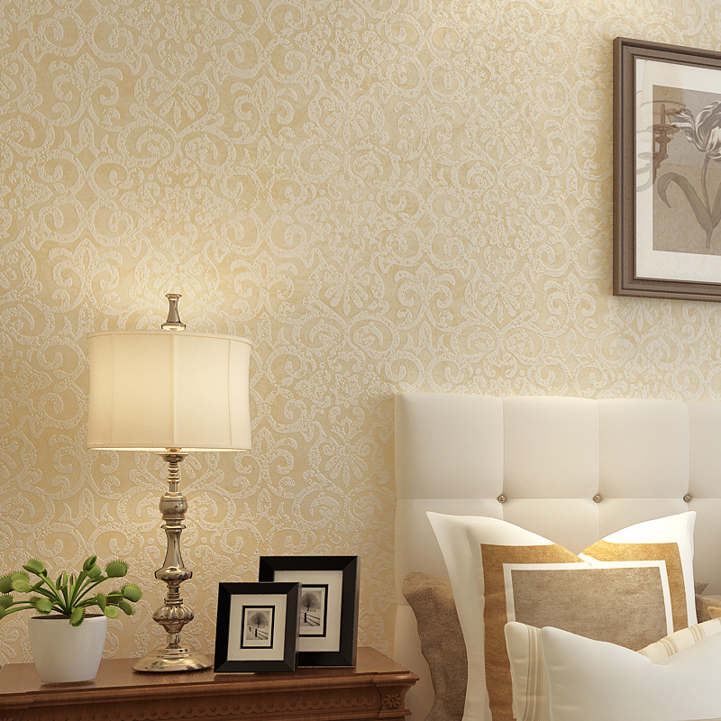 Modern Minimalist Nonwoven Fabric Plain Color Floral Bedroom Living Room Wall-to-Wall Wallpaper Clothing Store Hotel Plain Color