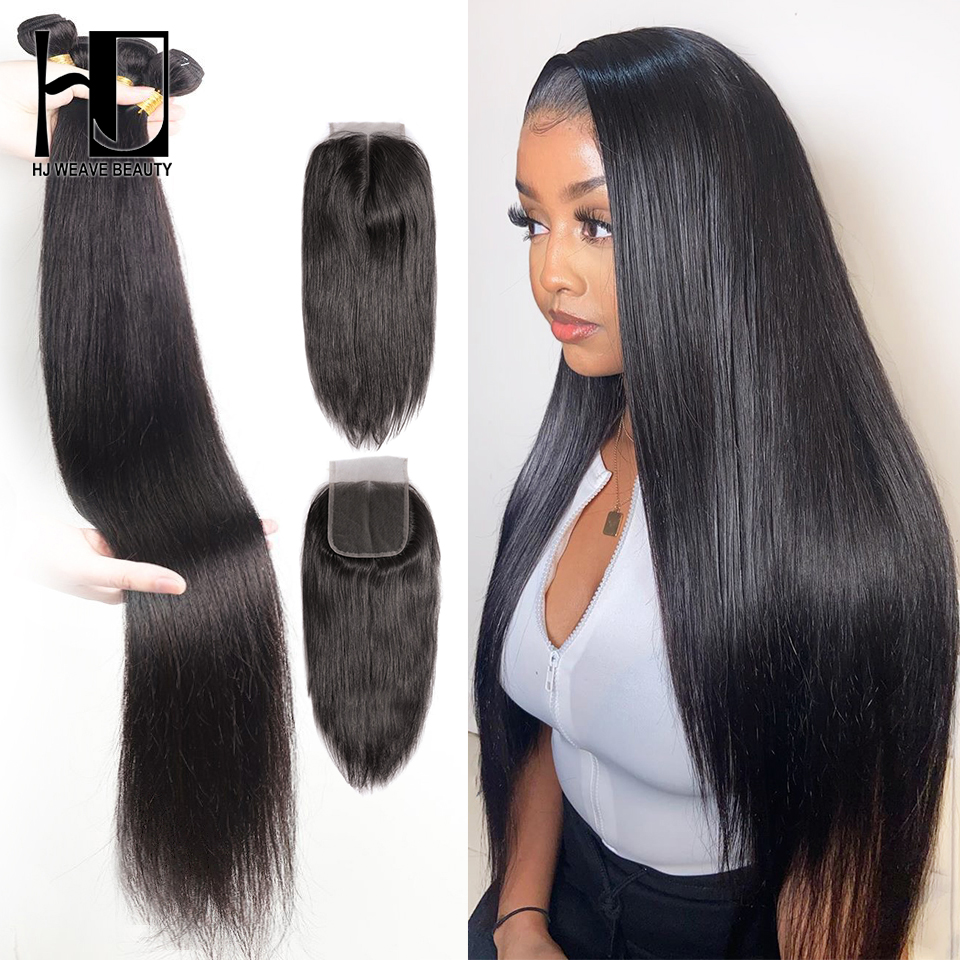 Straight Bundles With Closure 28 30inch Brazilian Hair Weave Bundles Remy Human Hair Extension With 4x4 Lace Closure Bundles With Closure Bundles Straightbundles With Closure Straight Aliexpress