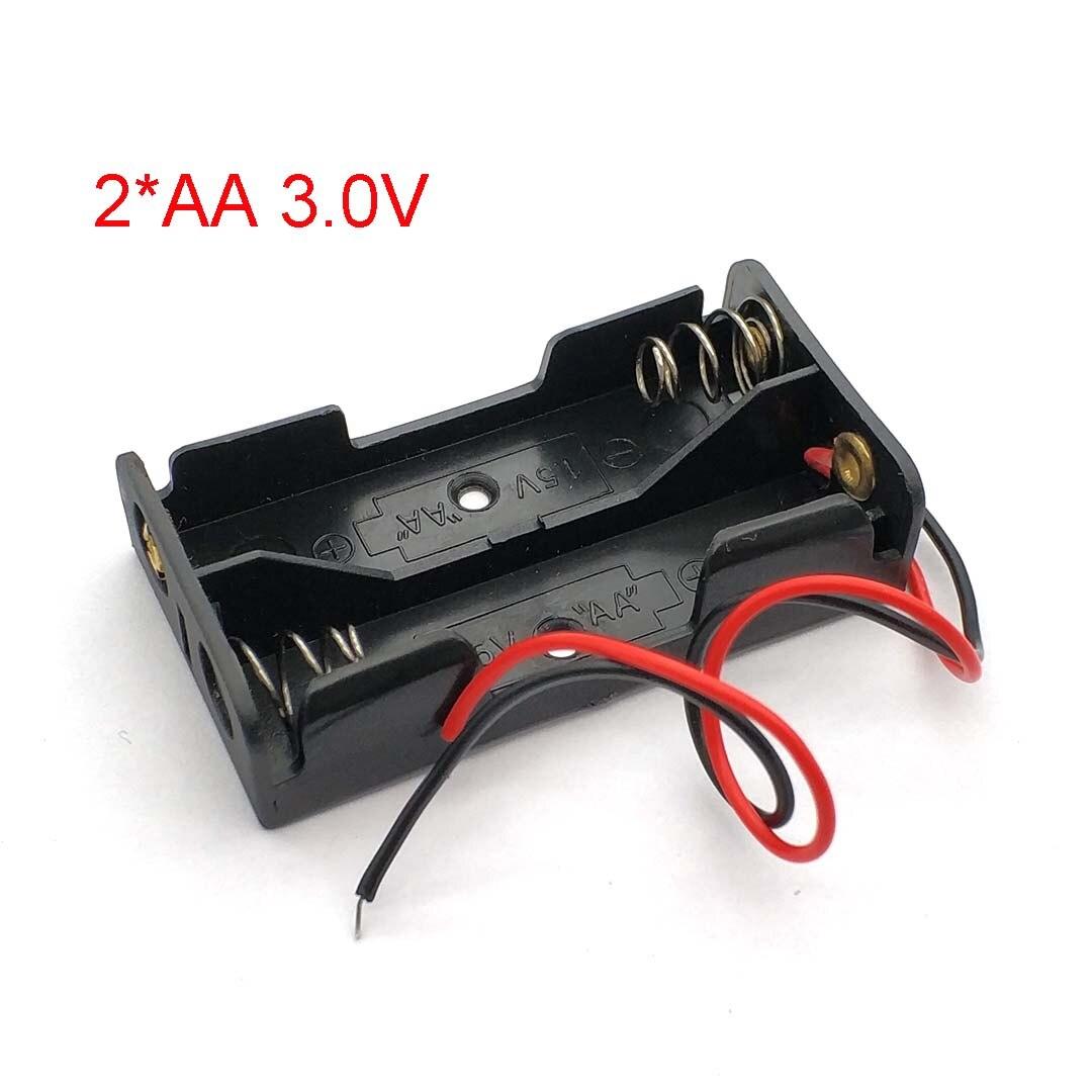 Tüketici Elektroniği'ten Pil Saklama Kutuları'de Siyah plastik 2 * AA pil saklama kutusu vaka 2 yuvası yollu DIY piller klip tutucu konteyner tel kurşun ile Pin AA 1.5V title=
