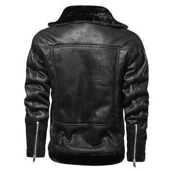 Homme Vintage PU Motor Business Faux Leather Jackets Men Classic Motorcycle Bike Cowboy Jacket Coat Male Plus Velvet Thick Coats