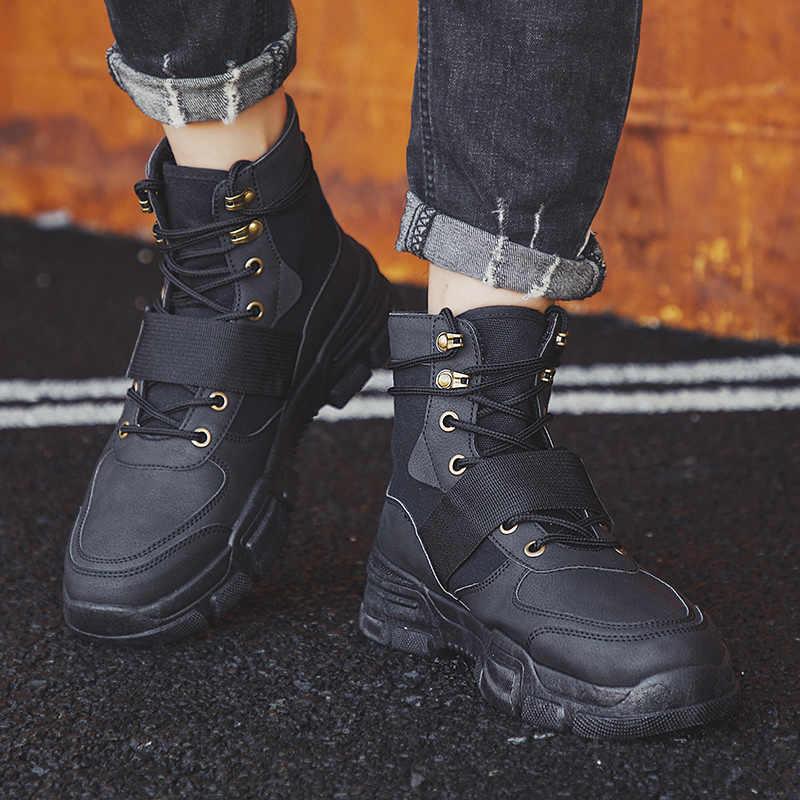 Heflashor 2019 באיכות גבוהה אופנה חורף גברים של מגפי חם עבודה מגפי תחרה עד גברים של מדבר מגפי עגול הבוהן גבוהה למעלה נעליים