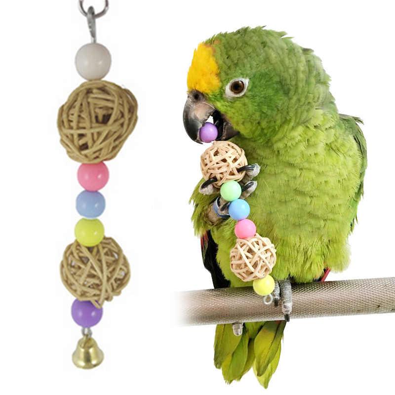Papagaio animal de estimação pássaro mastigar gaiolas pendurar brinquedo corda madeira caverna escada mastigar brinquedo cores alta qualidade rato frisado trançado brinquedo 3*3*17cm