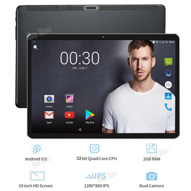 Free Shipping New Android 10 inch Android 9.0 Pie OS 3G Phone Call 32GB ROM Dual SIM Cards Wifi A GPS IPS 2.5D Glass tablets PC