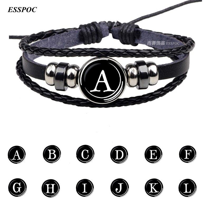 Мужской и женский кожаный браслет на пуговицах, черный браслет с 26 буквами и именем команды, подарок на день рождения|leather bracelet|leather bracelet menblack leather bracelet | АлиЭкспресс
