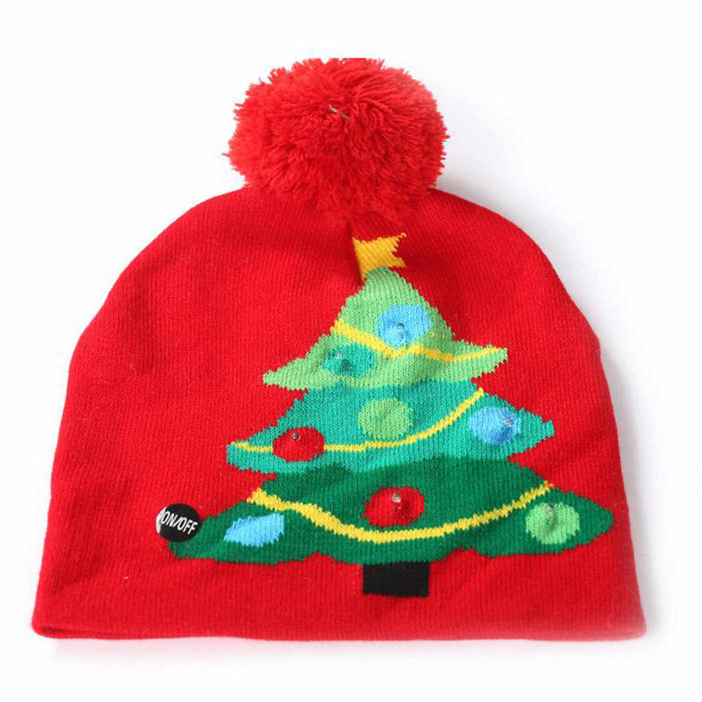 Parent-child Colorful Merry Christmas Hat for Women Men Kids LED Light-up Knit Hat Winter Beanie Hairball Hat Christmas Cap#25