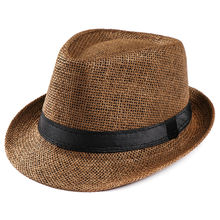 Hot Unisex Vrouwen Mannen Mode Zomer Casual Beach Trendy Zon Straw Panama Jazz Hoed Cowboy Fedora Hoed Gangster Cap(China)