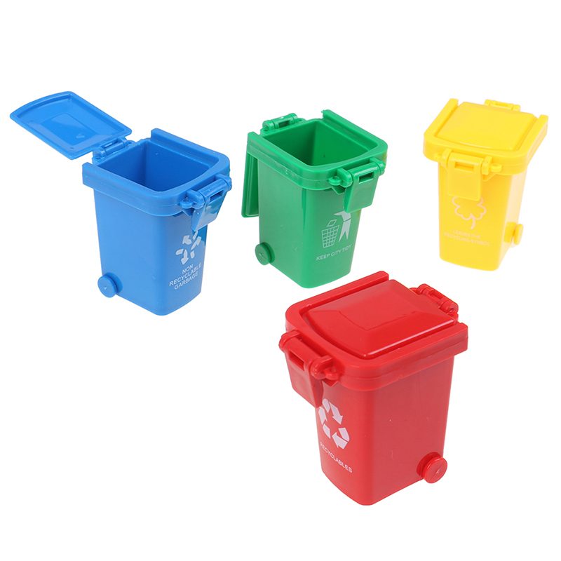 New 4pcs/set Mini Trash Can Toy Garbage Truck Cans Curbside Vehicle Bin Toys Kid Simulation Furniture Toy Gift