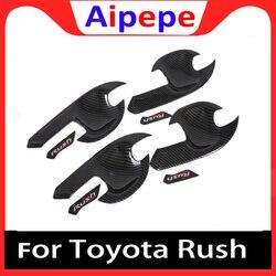 Serat Karbon Door Handle Bowl Covers untuk Toyota Rush ABS Mobil Styling Bagian Stiker Mobil Aksesoris untuk Toyota Rush 2018 2019