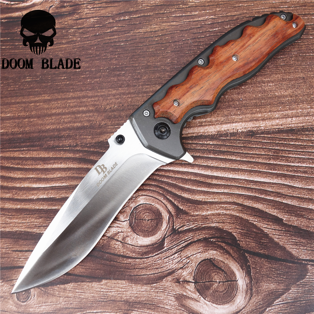 230mm 5CR15MOV Blade Quick Open Knives Portable Tactical Folding Knife Color Wood Handle Camping Survival Pocket
