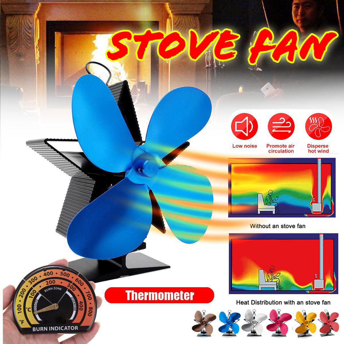 Blue 4 Blades Heat Powered Stove Fan Eco Fireplace Fan Wood Burner Quiet Energy Saving With Thermometer Heat Distribution