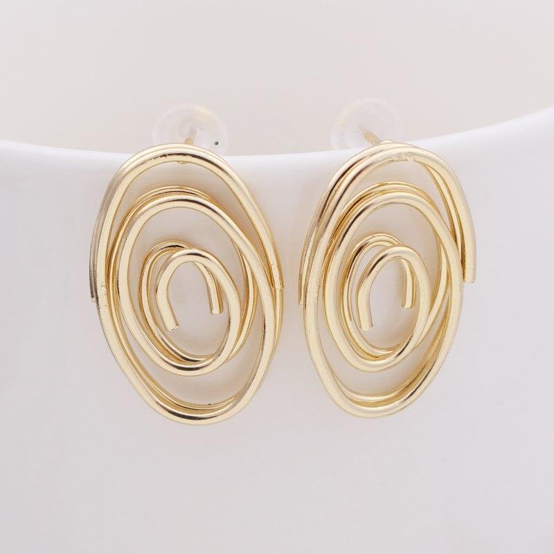 EK457 Korean Jewelry Geometric Spiral Earings Round Oval Stud Earring For Women Fashion Earrings Wholesale Wedding Earrings
