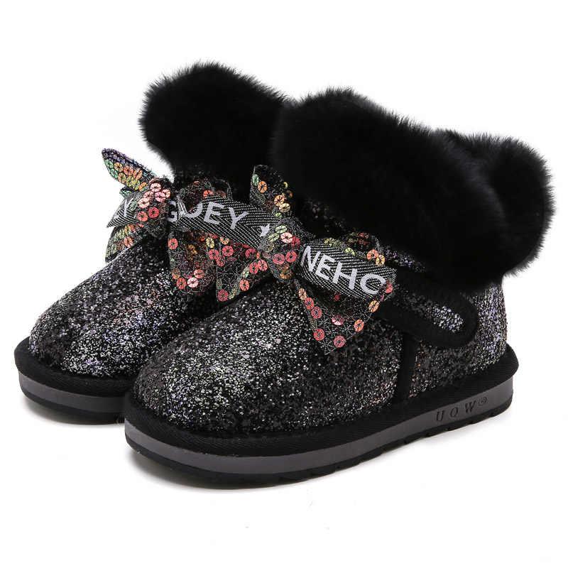 Bakkotie/2019 г.; модные детские зимние ботинки; модные Блестящие ботильоны на теплом меху с блестками для маленьких девочек; детские мягкие полусапожки с бантом