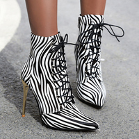AIWEIYi Gold Silver Ankle Boots For Women Pointed Toe Lace Up Party Shoes Female High Heels Zebra Print Boots Ladies Shoes