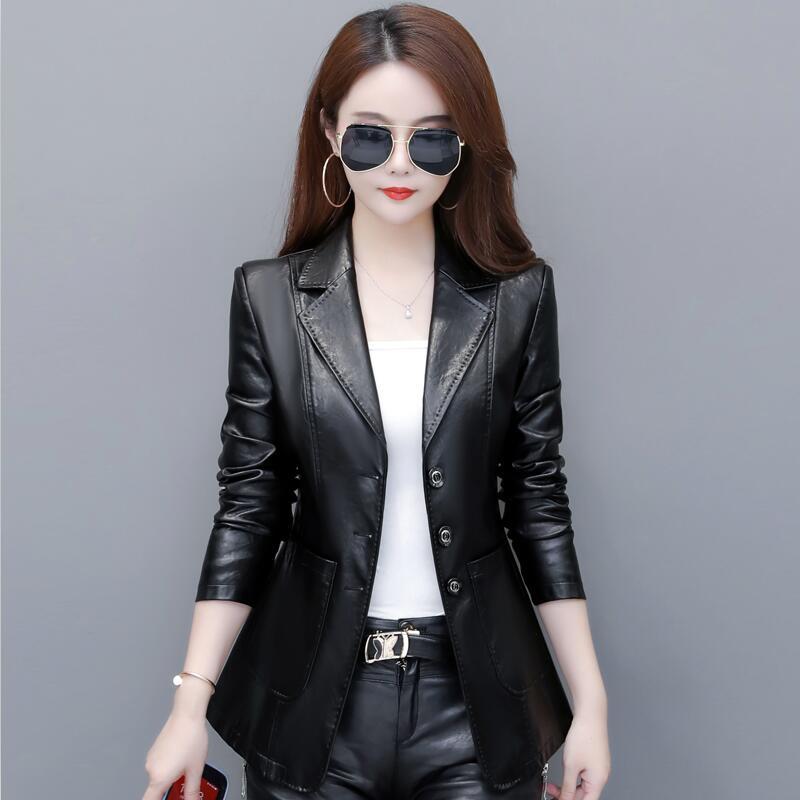 New Plus Size 3XL 4XL   Leather   Suit Women   Leather   Jacket 2019 Fashion Women's   Leather   Jacket Outerwear Coat Female Jacket Blazer