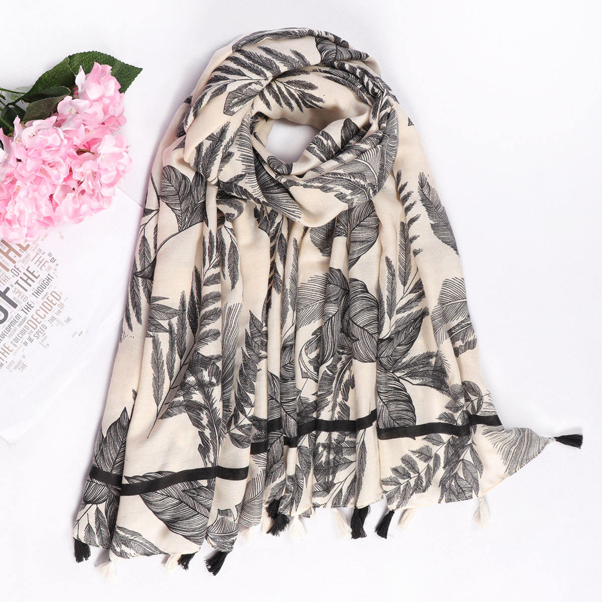 New Square Fashion Decorative Scarf Female Hand Tassel Tropical Leaves Nordic Wind Print Hanging Scarves
