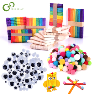 Colored Wooden Popsicle Sticks Natural Wood Ice Cream Sticks Kids DIY Hand Crafts Art Toys Ice Cream Lolly Cake Tools GYH