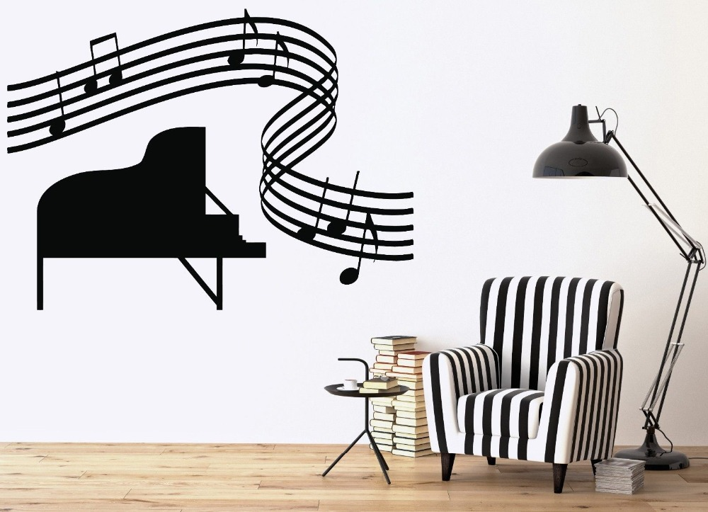 Vinyl Art Removable Poster Mural Music Room Piano Sheet Music Score Wall Sticker Bedroom Livingroom Poster Mural Decals <font><b>3386</b></font> image