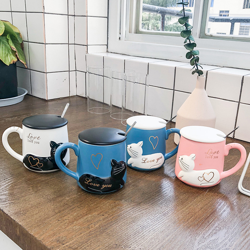 3D Relief Cat Coffee Mug with Lid and Spoon Love Kitty Ceramic Water Tea Cup Wedding Gift Blue and Black 400ml
