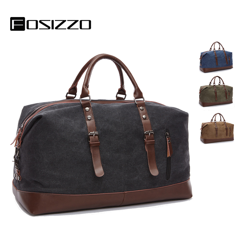 FOSIZZO Canvas Leather Men Travel Bags Carry on Luggage Bag Duffel Bags Travel Tote Large Weekend Bag Overnight Handbag FS4046 image