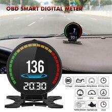 Yeni P15 dijital hız Hud ekran araba hız göstergesi OBD2 Turbo Boost basınç ölçer alarmı yağ su sıcaklığı göstergesi kod okuyucu