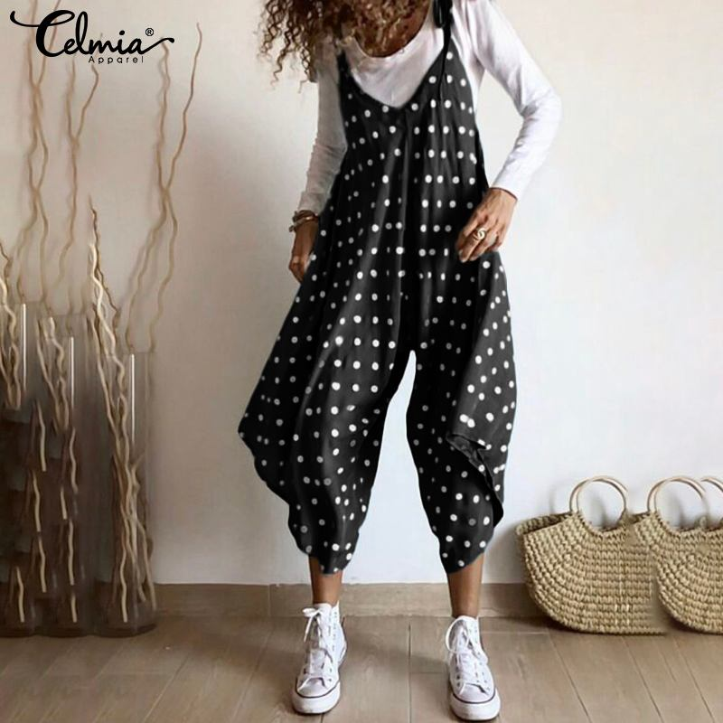 Celmia Women's Jumpsuits 2019 Summer Fashion Polka Dot Rompers Casual Loose Sexy V Neck Straps Macacao Wide Leg Overalls S-5XL 7