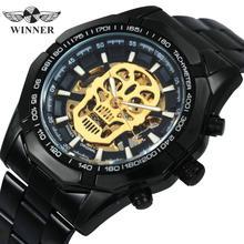الفائز الرسمي رجالي ساعات العلامة التجارية الفاخرة التلقائي ساعة ميكانيكية الرجال الصلب حزام الهيب هوب هيكل جمجمة الطلب ساعة معصم
