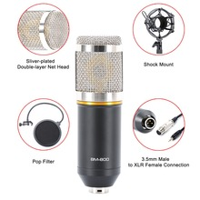 Condenser Microphone Wired Scissor Arm Stand Metal Shock Mount Pop Filter Sound Recording For Chatting Singing OUJ99 mk f200fl 3 5mm audio wired sound recording condenser microphone with shock mount holder clip for gaming video chatting
