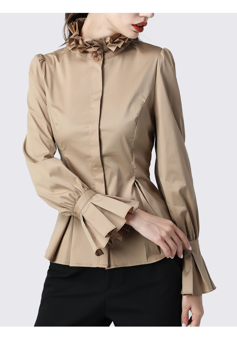 Women Stand Collar Elegant Formal Tops Blouse Office Lady Vintage Blouse Shirts Women Business Attire Blazer Shirt Female Blusas