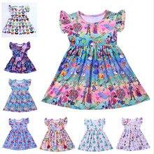 Minnie Mouse Dress Toddler Princess Girls Dress Summer Flutter Sleeve Elsa Dress Milk Silk Birthday Party Dress Unicorn Dress цена 2017