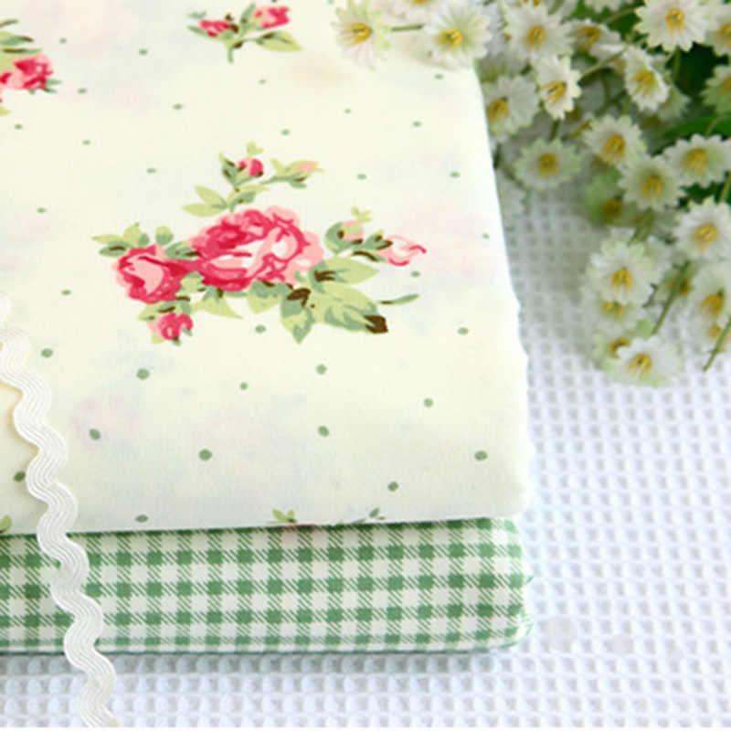 الأخضر زهرة صغيرة القطن النسيج DIY خليط الخياطة وسادة اللحف الأخضر سماط المنسوجات المنزلية الأقمشة