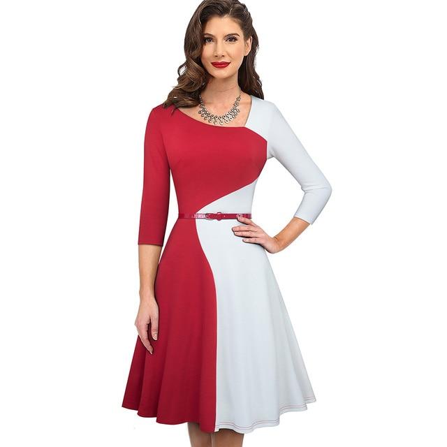 Nice-forever 1950s Retro Contrast Color Patchwork Winter vestidos Business Party Flare A-Line Women Swing Elegant Dress A178 3