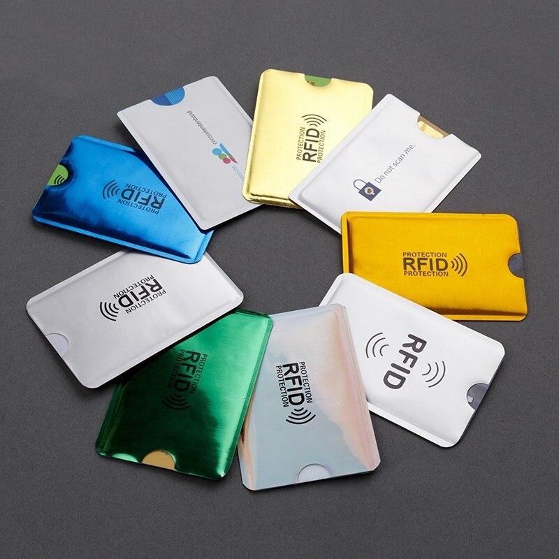 1-5-10-20PCS Anti Rfid Card Holder NFC Blocking Reader Lock Id Bank Card Case Protection Metal Credit Card Case Aluminium