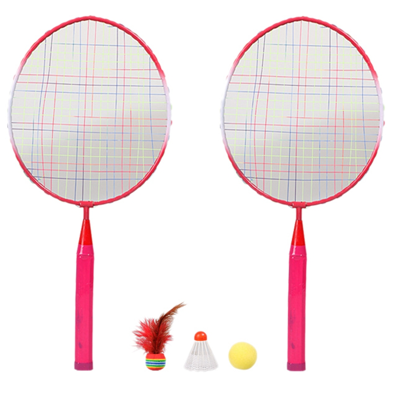 2 Players Badminton Racket Ball, Portable Colored Plaid Durable Nylon Alloy Badminton Racquet 3 Balls For Children Training