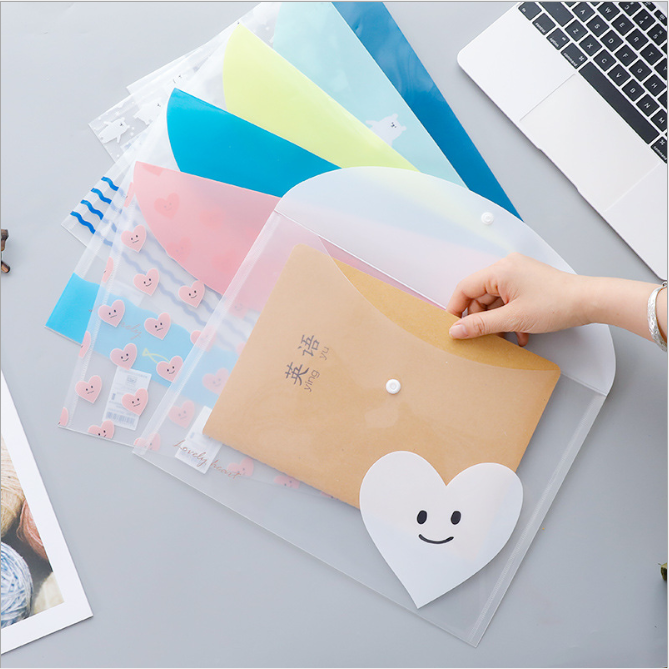 4 Pcs A4 File Bag File Manager File Pocket School Office Stationery PVC Document Bag Folder Document Organizer Love Cute Animal
