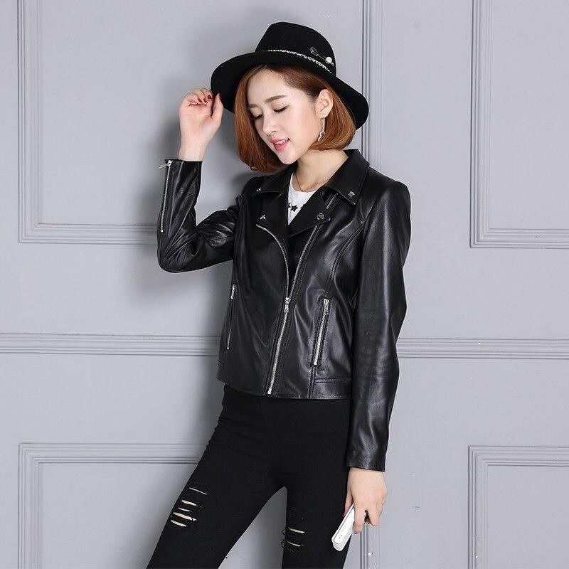 Sheepskin Coat Womens Genuine Leather Jacket Spring Autumn New Loose Short Long Sleeve Biker Moto Leather Jacket Outwear Black