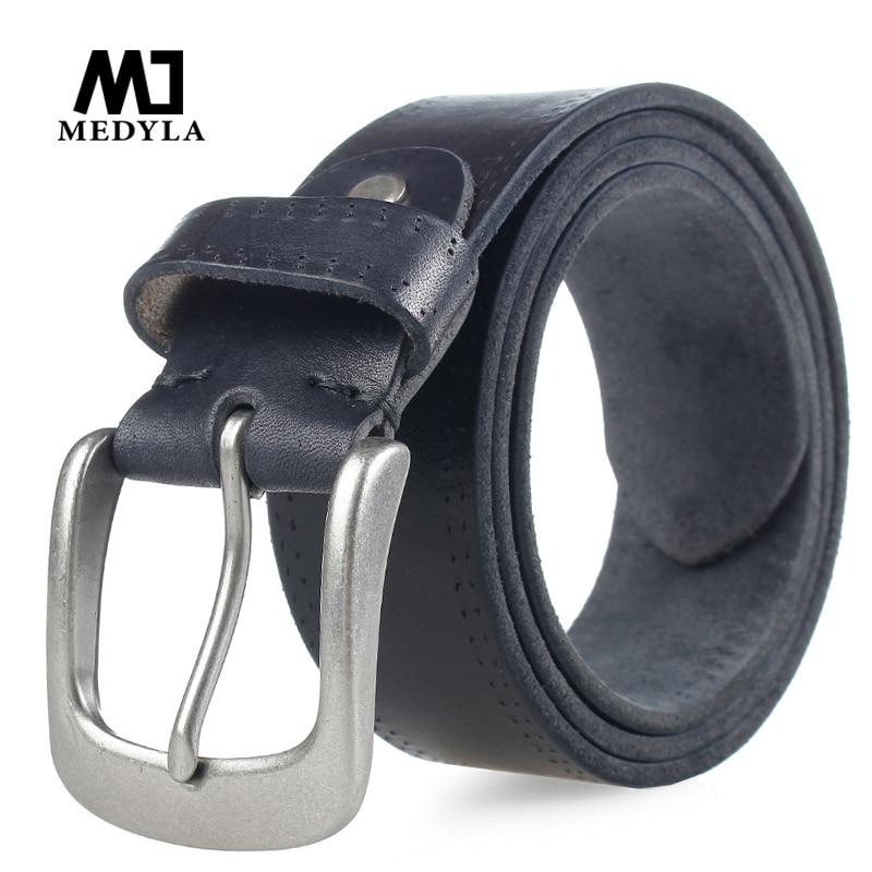 MEDYLA Italian Cow Leather Belt Vintage Cowboys Full Grain Genuine Leather Soft Coffee Luxury Designer Belts High Quality Strap