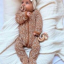 Детские комбинезоны для мальчиков и девочек, комплекты одежды для младенцев, Осенние комбинезоны для новорожденных, хлопковый Цветочный ко...