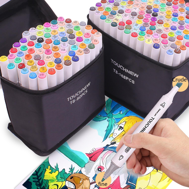 12/30/40/60/80/108/168 cores duplo headed arte marcador caneta conjunto esboço do artista para suprimentos de arte da escola manga