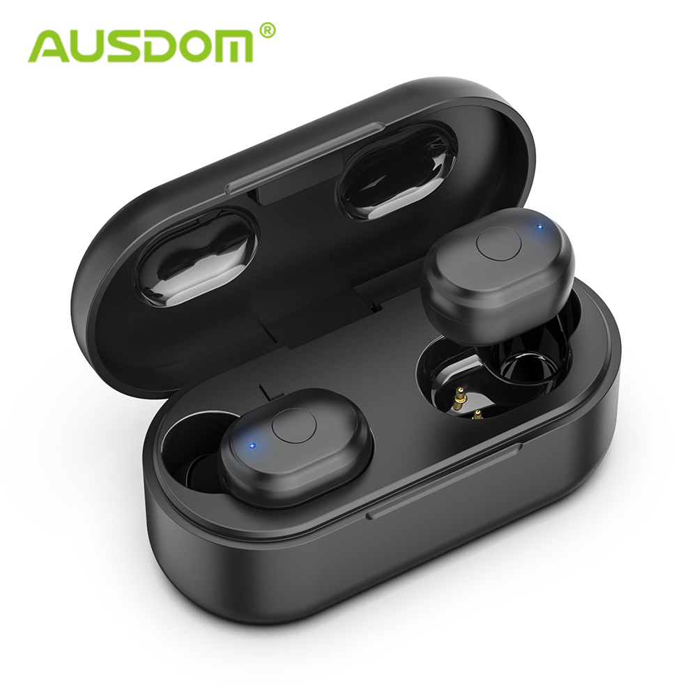 AUSDOM TW01 TWS Drahtlose Bluetooth Kopfhörer 20H Spielen Zeit Drahtlose Kopfhörer CVC8.0 Noise Cancelling Sport Ohrhörer Mit Dual Mic