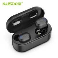 AUSDOM TW01 TWS bezprzewodowe słuchawki Bluetooth 20H czas odtwarzania słuchawki bezprzewodowe CVC8.0 redukcja szumów sportowe słuchawki douszne z podwójny mikrofon