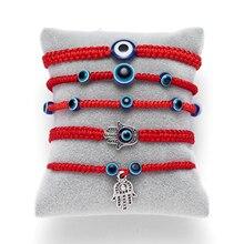 Women Red Lucky Rope Blue Fatima's Hand Turkish Blue Evil Eye Thread Adjustable Bracelet Wishing Handmade Glass Bead Bracelet