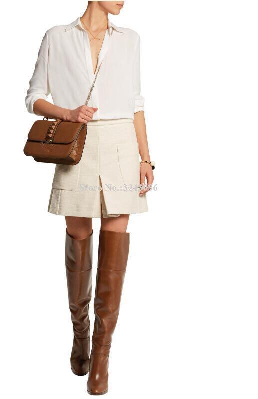 Neue Braun Leder Chunky Ferse Frauen Lange Stiefel Marke Design Große Größe Über die Knie Stiefel Promi Bankett Schuhe Dropship - 4